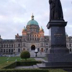 BC Legislature and Statue of Queen Victoria. Photography by Adele J. Haft, adelehaft@gmail.com